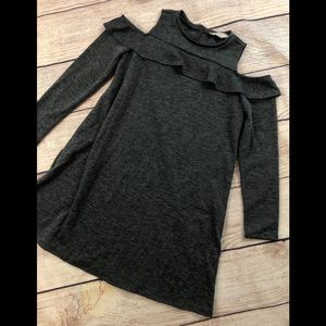 LOFT S cold shoulder ruffle dress